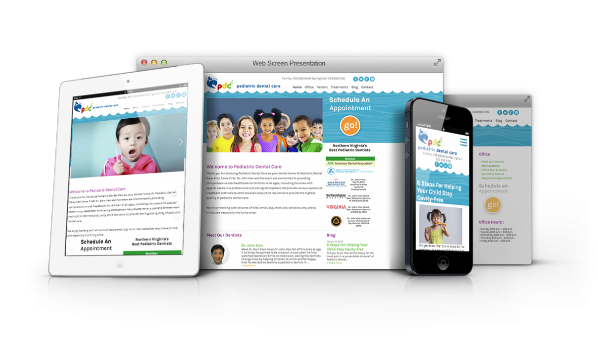 new website presentation for Pediatric Dental Care