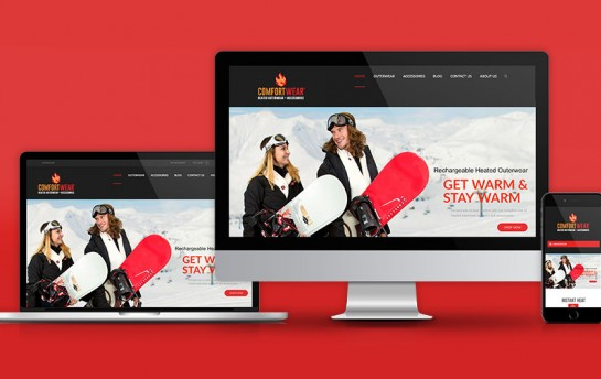 Comfort Wear responsive website design mock up.