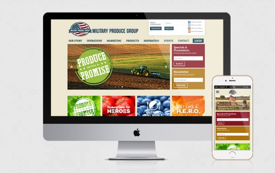 Military Produce Group website on desktop and mobile